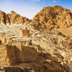 Ruins of old houses in village Chebika, mountain oasis, Tunisia,