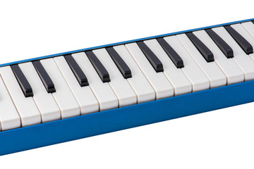 Close up Musical melodica isolated on white background.