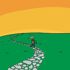 Lonely Fisherman Walking