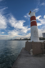Lighthouse with Chicago Downtown in the Back Vertical