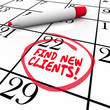 Find New Clients Words Calendar Prospect Selling Sales