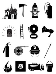 Fire fighters icons set