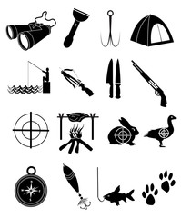 Camping hunting and fishing icons set