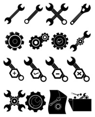 settings wrench icons set