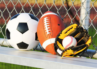 Sport balls. Soccer ball, american football and baseball