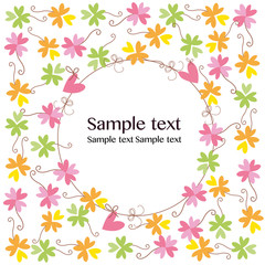 Clover flowers greeting card background vector