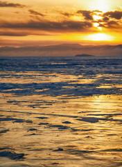Winter sunset over Baikal lake