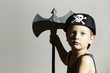 little barbarian.Boy in Carnival Costume.Pirate Child.Halloween