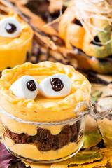 Halloween treats, little monster dessert.