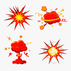 Comic Book Explosion, Bombs And Blast Set