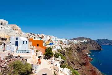 Oia village and panoramic view of Santorini, Greece.