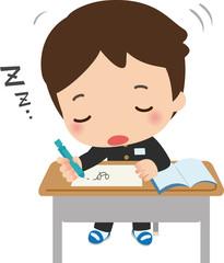 授業中に居眠りする男子生徒