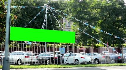 car showroom (used car dealer) - billboard - green screen
