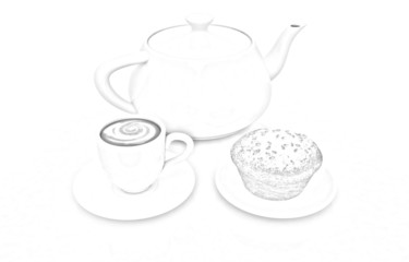 Appetizing pie and cup of coffee. Pencil drawing