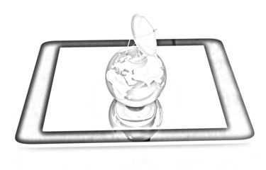 The concept of mobile Internet and earth. Pencil drawing