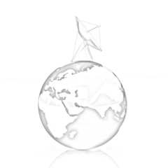 SAT and planet earth. Pencil drawing