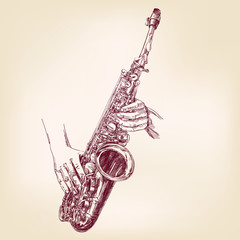 saxophone hand drawn vector llustration realistic sketch
