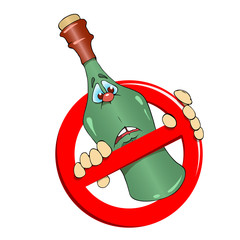No Alcohol sign and bottle