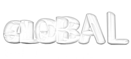 "3d text ""Global"". Pencil drawing"