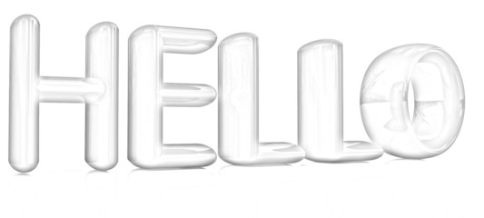 "3d text ""hello"". Pencil drawing"