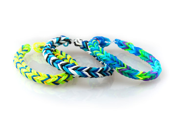Three style colorful rubber bracelets