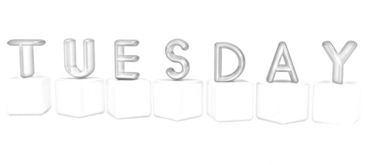 "3d letters ""Tuesday"" on white cubes. Pencil drawing"