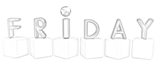 "3d letters ""Friday"" on white cubes. Pencil drawing"