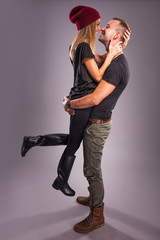 Love Couple kissing the studio