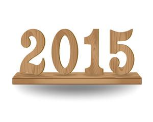 Vector 2015 wooden type on wood shelf