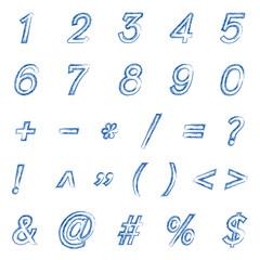 Vector blue brush stroke number style