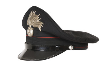 Italy police hat, against a white background