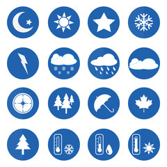 Weather icons set over blue