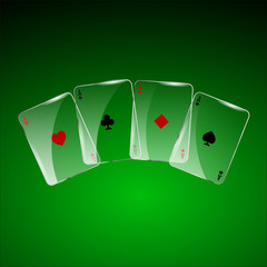 Abstract playing cards on green background