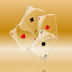 Abstract playing cards on golden background