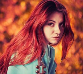 redhead woman fall portrait