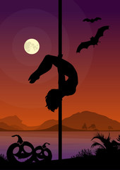 Halloween Style Silhouette of Pole Dancers