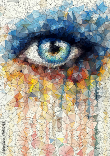 beautiful eye in geometric styling abstract geometric background - 70980935