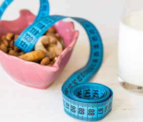 Dried Fruits, yogurt and centimeter for dieting