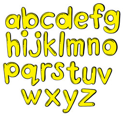 Letters of the alphabet in yellow colors