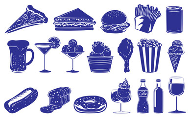 Doodle design of the different foods and drinks