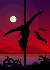 Halloween Style Pole Dancer if front of Night Scenery