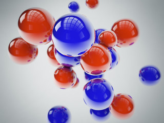 blue and red spheres