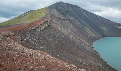 Vulcano crater with water in Iceland