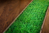 Artificial turf on hardwood floor poster