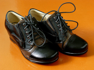 pair of female autumnal shoes with laces