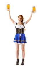 Oktoberfest girl holding jugs of beer