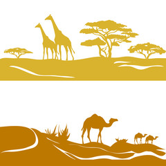 banner with savanna and desert, silhouette