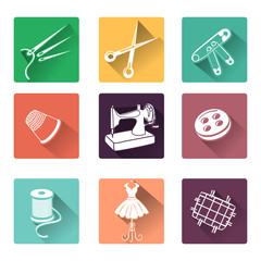 flat icons with sewing elements