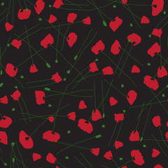 Poppies. Seamless vector patterns.