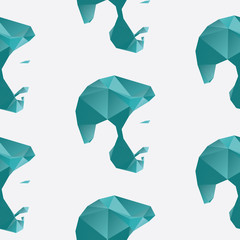 A repeating seamless pattern of a mans face in a polygon style